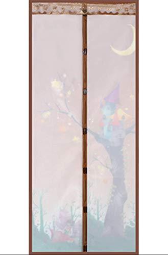 NAXIAOTIAO Fly-Proof Und Moskito-Proof Home Trennwand Gardinen Sommer Schlafzimmer-Frei Perforierte Transparente Bildschirme Bildschirmtür Moskito-Proof Insektenschutz Gardinen,BrownFairy,100 * 210cm