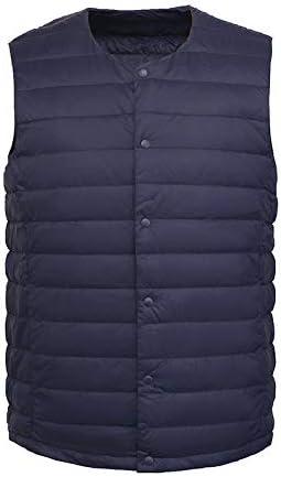 Vest Women Men White Down Vest Man's Clothing Ultra Light Down Waistcoat Portable Sleeveless Coat Man Winter Round Collar Warm Vest Vest Warm (Color : Navy Blue, Size : XL)