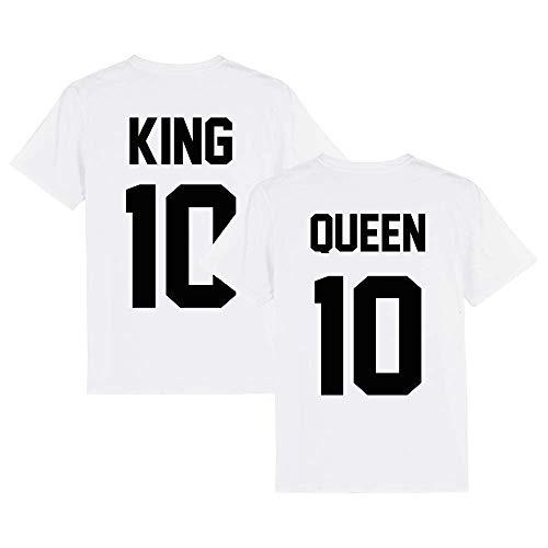 Partnerlook - T-Shirt für Paare - King Queen Wunsch Nummer Schwarz Couple Unisex Shirt Weiß, L, T-Shirt Damen