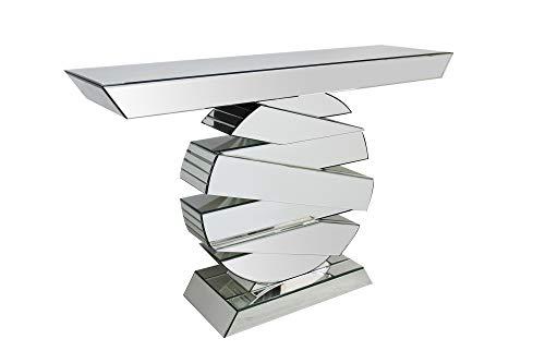 SalesFever Konsolentisch Lexi | Flurtisch aus MDF Holz | Oberflächen verspiegelt aus Glas | Beistelltisch rechteckig | Silber-farbig | Futuristisches Design