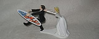 Wedding Bridal Beach Ocean Hang 10 Surfboard Surfer Cake Topper