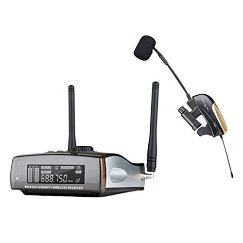 Hellery Micrófono de Saxofón UHF Clip de Sistema de Micrófono Inalámbrico en Instrumento Musical para