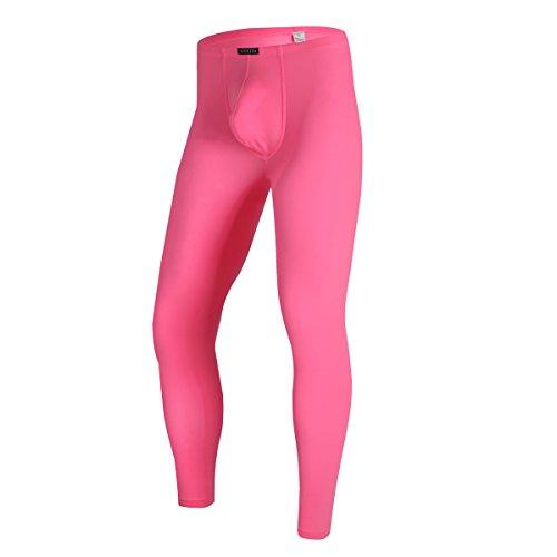 YFD Herren Lange Unterhosen mit Weichbund transparent Hose Unterwäsche Strumpfhose Leggings (XL, Rose)