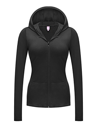 REGNA X NO BOTHER Women's Full Zip Up Slim fit Light Fitness Soft Hooded Jacket, Black, Large