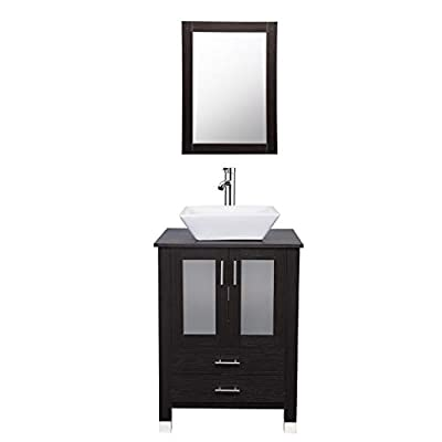 24 inch Bathroom Vanity and Sink Combo Stand Cabinet Bowl with Vanity Mirror,Modern MDF Cabinet w/Sink Faucet &Drain set