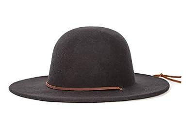 Brixton Men's Tiller Wide Brim Felt Fedora Hat, black, Large
