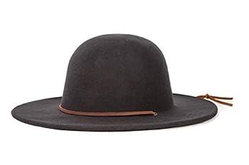 Brixton Men s Tiller Wide Brim Felt Fedora Hat black Small