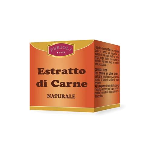 Ferioli - Estratto di Carne 100% Naturale di Carne Bovina Italiana, Astuccio da 40 gr, Ideale per Brodi e come Insaporitore, Senza Conservanti, Senza Glutine, Made in Italy