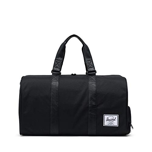 Herschel Novel Duffel Bag, Black/Black Synthetic Leather, Classic 42.5L