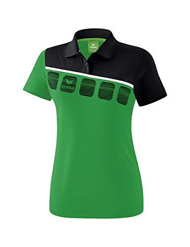 Erima Damen 5-C Poloshirt, smaragd/Schwarz, 40