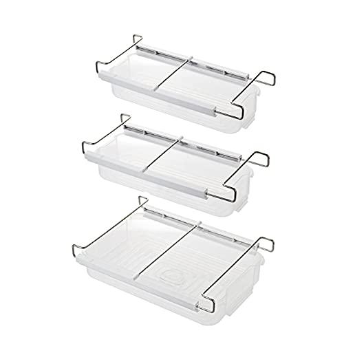 Juego de 3 organizadores de almacenamiento para refrigerador, retráctil transparente para cajón de refrigerador, soporte para estante de refrigerador con riel deslizante para despensa, cocina, verdura