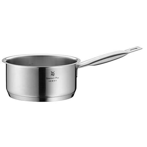 WMF Gourmet Plus Stielkasserolle 16 cm, ohne Deckel, Kochtopf 1,4l, Milchtopf, Cromargan Edelstahl mattiert, Topf Induktion, Innenskalierung