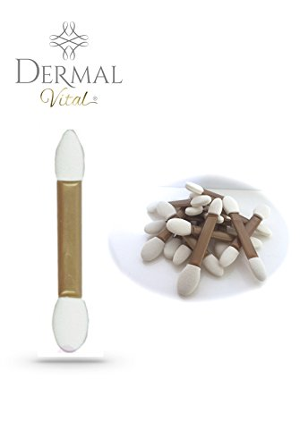 Dermal Vital ° en silicone professionnel Ombre à paupières ° applicateurs ° Double face en or rose avec bouts blancs 25 pièces