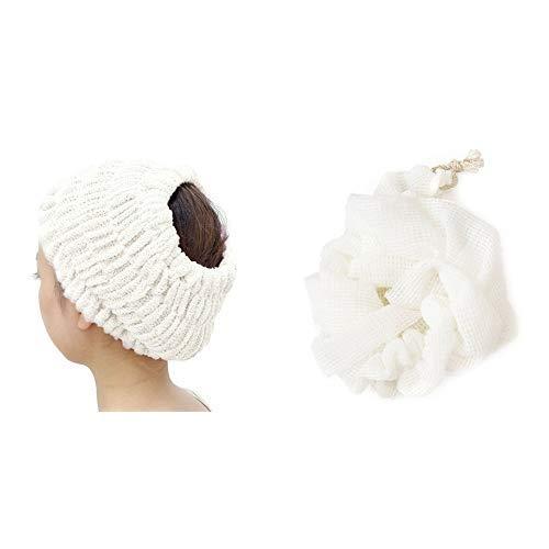 プリスベイス エピ お風呂セット ホワイト (バスヘアターバン+ボディタオル)