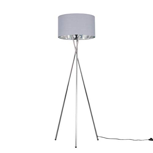 Modern Polished Chrome Metal Tripod Floor Lamp with a Grey & Chrome Cylinder Shade - Complete with a 6w LED Bulb [3000K Warm White]