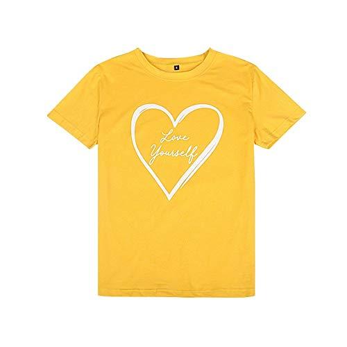 Summer New Love bedrukken T-shirt van mensen Sport Style ronde hals Fashion T-shirt Losse groot formaat Vrouw met korte mouwen dieptepunt shirt (Color : Red, Size : XL)