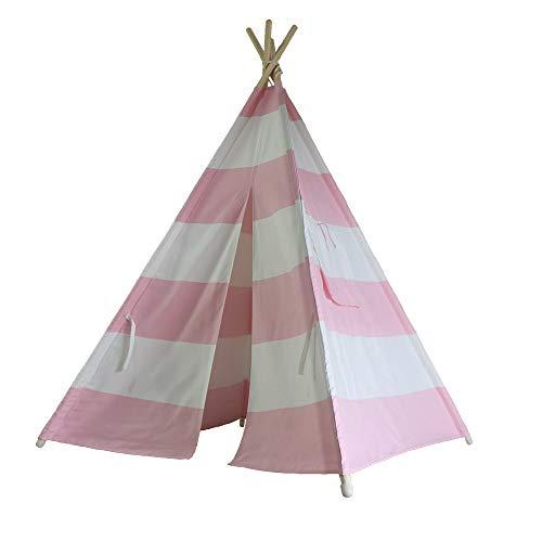 KGLOPYE Zelt Zelt 4 kleine Ammer/pink gestreiftes Picknickzelt für Kinder mit eingebautem Außenverschluss, 1