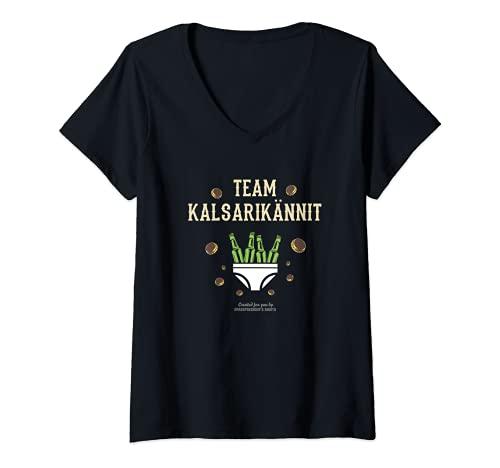 Damen Kalsarikännit für Biertrinker Suomi Team Kalsarikännit T-Shirt mit V-Ausschnitt