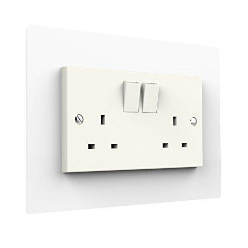 Double White Light Plug Socket Switch Surround Acrylic Finger Plate Panel