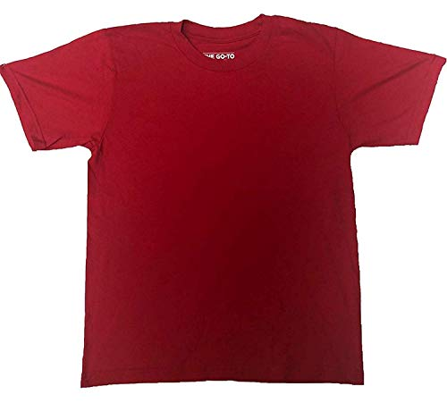 adidas Youth Short Sleeve Blackout No Logo The GO-to Tee T-Shirt (Med-Youth, Scarlet)