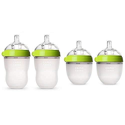 New Comotomo Baby Bottle Starter Set, Green (Two 8-Ounce, Two 5-Ounce)