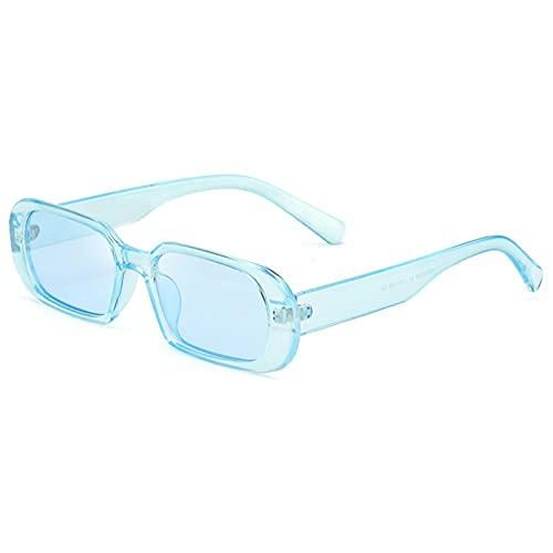 Tanxianlu Gafas de Sol con Montura Cuadrada de Color Caramelo para Mujer, Gafas de Sol de Moda Rosadas para Mujer, Gafas de Sol ovaladas para Hombre, Hexagonal Azul Uv400, Barato,L