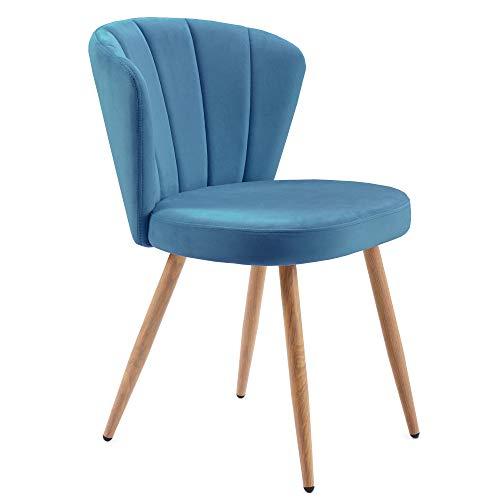 YINKUU Juego de 1 o 2 sillas de comedor de tela de terciopelo con diseño de ostra cosido en la parte trasera de la sala de estar y el dormitorio (azul, 1)