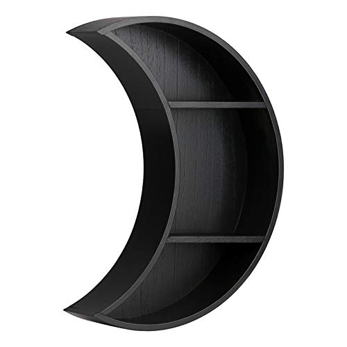 Takefuns 1 estante flotante de madera con forma de luna, 3 niveles, para colgar en la pared, estante de almacenamiento para dormitorio, para figuras, cristales y piedras, negro, 29 x 35 x 7 cm