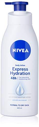 NIVEA Express Hydration Body Lotion & Moisturiser (400ml), Fast Absorbing Body Cream with Intensive Moisture Serum for long lasting moisturised skin