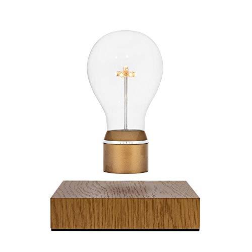 Preisvergleich Produktbild FLYTE Royal - Original,  Echte Schwebende LED Glühbirne Lampe (Basis aus Eichenholz,  Glühbirnenkappe aus Gold) [Energieklasse B]