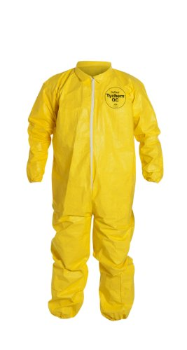 DuPont Tychem 2000 QC125S Disposable Chemical Resistant Coverall with Elastic Cuff and Serged Seams, Yellow, 2X-Large (Retail Pack of 1)