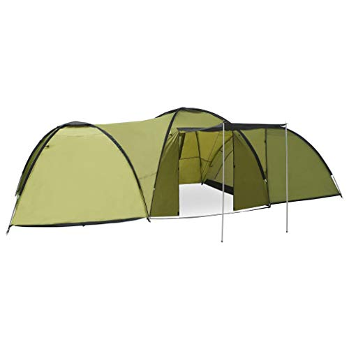 vidaXL Tienda de Campaña Tipo Iglú 8 Personas Carpa para Playa Picnic Camping Impermeable Estable Duradera Plegable Instantánea y Portátil Verde