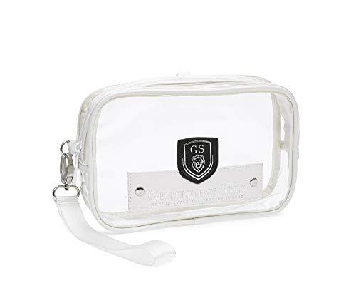 GENTLEMAN SYLT Kulturtasche Kulturbeutel durchsichtig Kosmetiktasche transparent weiß Flyingbag zum Aufhängen 21x4x12 cm