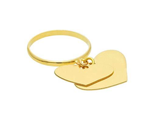 Anello in Oro Giallo , 750 , 18K , doppio ciondolo con cuore pendente , lucido , MADE IN ITALY