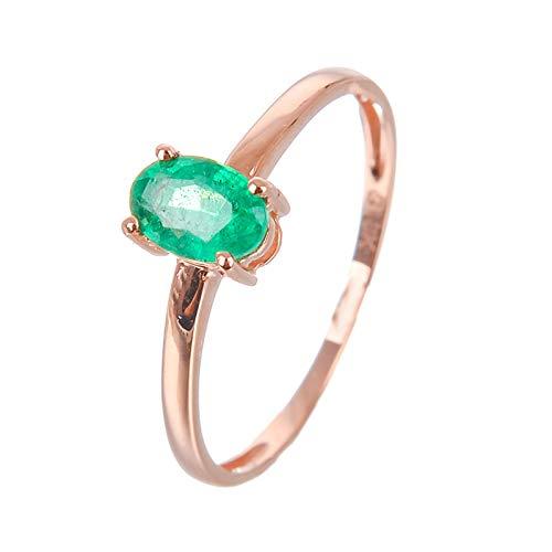 AueDsa Anillos Oro Rosa Verde Anillo Mujer Oro Rosa 18K Oro Rosa Verde Oval Esmeralda Verde Anillo Talla 12