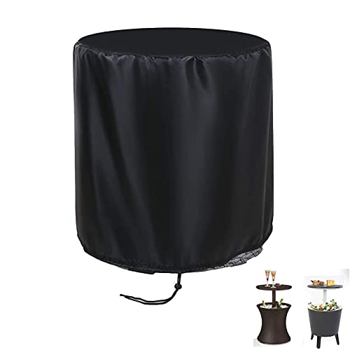 POMER Ice Bucket Table Cover, Round Drinks Cooler Table Fit for 7.5-Gal Rattan Keter Cool Bar, Ø52x58cm Waterproof Outdoor Side End Table Cover