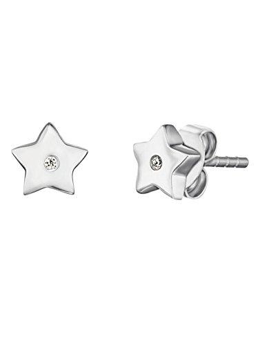 Hartvormige sterretjes, oorstekers voor meisjes, 925 sterling zilver, gerhodineerd, afmetingen bezet met 2 witte zirkonia, 6 mm
