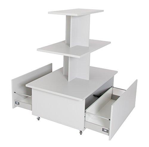 Dila GmbH Pyramidentisch m. Schubladen rollbar, Verkaufstisch Dekotisch Verkaufsregal Regal Ladeneinrichtung Warentisch Rolltisch (Ahorn)