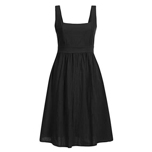 TWIFER Damen Vintage Kleid Einfarbig Festkleid Casual Loose Sommerkleid Ärmellos Longshirt Freizeitkleider