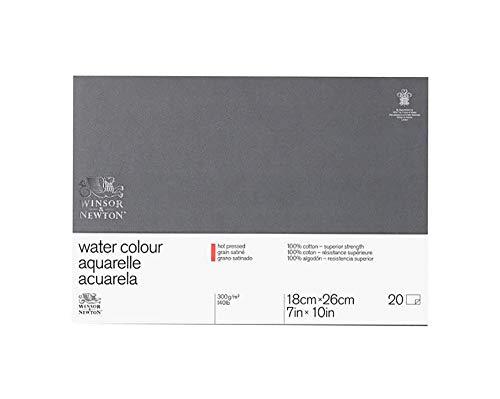Winsor&Newton - Blocco Grana Satinata - 17.8 X 25.4cm - Incollato 4 Lati - 20 Fogli - 300G