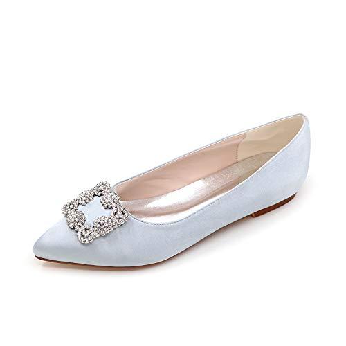 CHARMSTEP Bailarinas Novia para Mujer Satén Puntiagudos Diamantes De Imitación Planos Zapatos De Boda 2046-06,Plata,35 EU