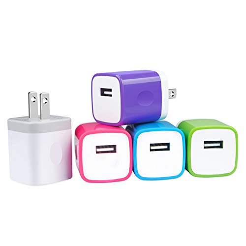 Enchufe De Pared USB, Bloque De Carga Rápida GiGreen De Un Solo Puerto, Paquete De 5, Enchufe De Carga USB, Adaptador De Pared En Forma De Cubo