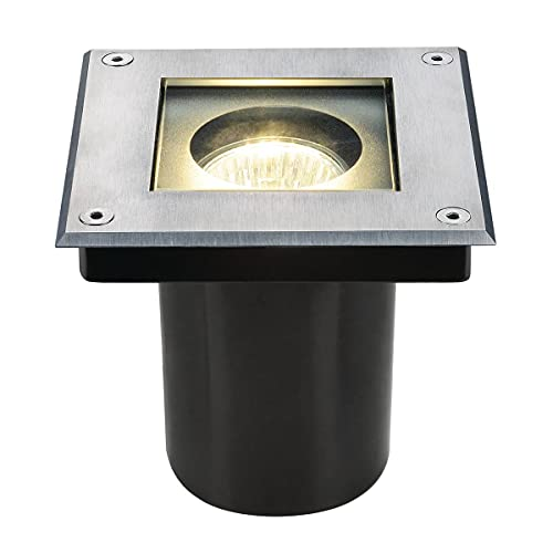 spot de sol encastré - carré - gu10-35 watts - slv dasar carré - ip67 - inox