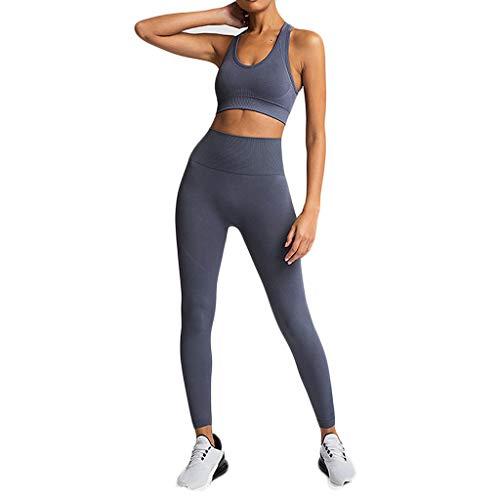 Damen 2 Stücke Set Sport Yoga Outfit U-Ausschnitt Langarm Top T-Shirt mit Kapuze + Reizvolle Bodycon Fest Leggings Sexy Pullover Sportanzug Trainingsanzug Rundhals Slim Fit