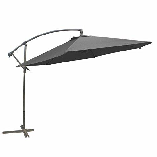 Linder Exclusiv–Sonnenschirm mit Kurbel und Fuß aus Stahl, Ø 3m, Farbe Grau