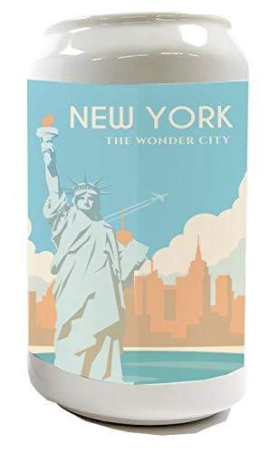 LEotiE SINCE 2004 Spardose Sparbüchse Geld-Dose Wiederverschließbar Farbe Weiß Retro Metropole New York Freiheitsstatue Keramik Bedruckt
