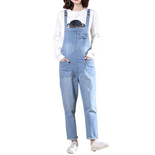 LAEMILIA Latzhose Damen Hose Latzhose Denim Jeansoptik Klasse Vintage Jeans Lang Lässig Baggy Boyfriend Stylisch Overall Jumpsuit