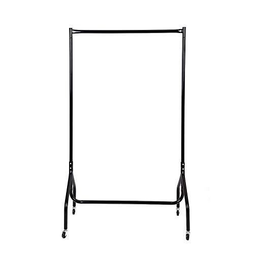 Wakects   Perchero de hierro para ropa sobre ruedas, con 1 barra resistente para ropa, armario sobre ruedas, para dormitorio, lavandería, 89 x 149 cm, color negro