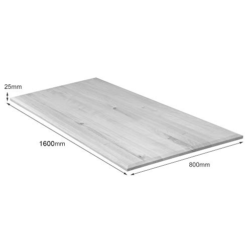 boho office® Massivholz, Tischplatte Schreibtischplatte 160 x 80 x 2.5 cm in Eiche Massiv mit durchgehenden Lamellen - 5