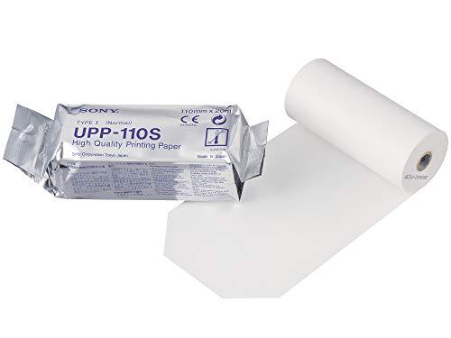 SONY UPP110S Rollos de papel térmico de alta calidad para impresoras médicas en blanco y negro - tamaño A6 (110mm x 20m)